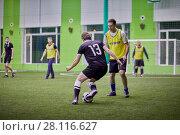 Купить «MOSCOW, RUSSIA - JAN 23, 2017: Episode in futsal game between teams at indoor field», фото № 28116627, снято 23 января 2017 г. (c) Losevsky Pavel / Фотобанк Лори
