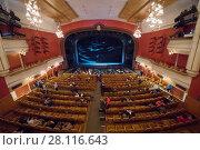 Купить «MOSCOW - JAN 25, 2017: People wait performance in New Opera theater», фото № 28116643, снято 25 января 2017 г. (c) Losevsky Pavel / Фотобанк Лори