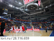 Купить «MOSCOW - JAN 27, 2017: Referee and teams during basketball game CSKA (Moscow) - Anadolu Efes (Istanbul) in Megasport stadium», фото № 28116659, снято 27 января 2017 г. (c) Losevsky Pavel / Фотобанк Лори
