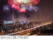 Купить «Bright fireworks explosions in night sky above Victory Park in Moscow, Russia. I have only one version of the photo with sharpening», фото № 28116667, снято 21 марта 2014 г. (c) Losevsky Pavel / Фотобанк Лори