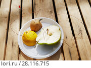 Купить «Producing electricity with pieces of lemon, pear and potato connected by wires on plate on wooden table outdoor», фото № 28116715, снято 2 мая 2016 г. (c) Losevsky Pavel / Фотобанк Лори