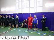 Купить «MOSCOW, RUSSIA - FEB 17, 2016: Judges and officials before volleyball game in Central Customs Administration», фото № 28116859, снято 17 февраля 2016 г. (c) Losevsky Pavel / Фотобанк Лори