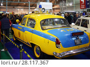 MOSCOW - MAR 07, 2016: Soviet car of Traffic police on exhibition Oldtimer-Gallery in Sokolniki Exhibition Center. It is only one in Russia exhibition of vintage cars and technical antiques. Редакционное фото, фотограф Losevsky Pavel / Фотобанк Лори