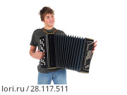 Купить «Young boy smiles and plays accordion isolated on white background», фото № 28117511, снято 20 ноября 2015 г. (c) Losevsky Pavel / Фотобанк Лори