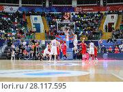 Купить «MOSCOW - JAN 27, 2017: Basketball game CSKA (Moscow) - Anadolu Efes (Istanbul) in Megasport stadium», фото № 28117595, снято 27 января 2017 г. (c) Losevsky Pavel / Фотобанк Лори