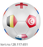 3D soccer ball with group G flags of Belgium, Panama, Tunisia, England on white background. Match between Belgium and Tunisia. Стоковая иллюстрация, иллюстратор LVV / Фотобанк Лори