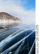 Купить «Typical for Lake Baikal winter landscape with smooth blue ice with white lines of cracks», фото № 28118075, снято 4 марта 2018 г. (c) Виктория Катьянова / Фотобанк Лори