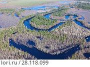 Купить «Forest river in spring, top view», фото № 28118099, снято 2 июня 2017 г. (c) Владимир Мельников / Фотобанк Лори