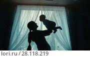 Купить «Mother holding a baby», видеоролик № 28118219, снято 21 февраля 2018 г. (c) Илья Шаматура / Фотобанк Лори