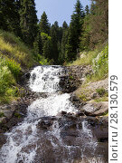 Купить «Waterfall in the summer mountains», фото № 28130579, снято 13 июля 2013 г. (c) Евгений Ткачёв / Фотобанк Лори