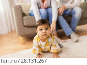 Купить «little baby girl on floor at home», фото № 28131267, снято 11 ноября 2017 г. (c) Syda Productions / Фотобанк Лори