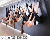 Купить «Females exercising wall yoga with straps in studio», фото № 28139335, снято 29 января 2018 г. (c) Яков Филимонов / Фотобанк Лори