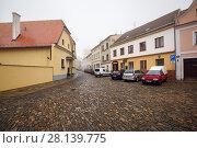 Купить «Старинная мощеная площадь в историческом центре города Зноймо, Чехия», фото № 28139775, снято 28 декабря 2017 г. (c) Bala-Kate / Фотобанк Лори