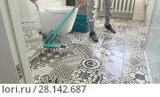 Купить «Woman with cleaning supplies in home», видеоролик № 28142687, снято 7 марта 2018 г. (c) Ekaterina Demidova / Фотобанк Лори