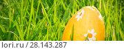 Купить «Orange easter egg in the grass», фото № 28143287, снято 23 января 2019 г. (c) Wavebreak Media / Фотобанк Лори