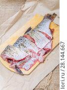Купить «Нарезанный на куски свежий язь на разделочной доске», фото № 28144667, снято 29 ноября 2015 г. (c) Алёшина Оксана / Фотобанк Лори