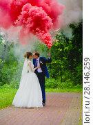 Купить «Bride and groom with the red colored smoke», фото № 28146259, снято 22 июля 2017 г. (c) Чебеляев Геннадий / Фотобанк Лори