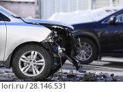 Купить «car accident at shallow depth of field», фото № 28146531, снято 23 февраля 2018 г. (c) Дмитрий Бачтуб / Фотобанк Лори