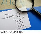 Купить «Процедура банкротства. Папка с надписью «Дело №», перо, нарисованные судейский молоток и домик.», фото № 28151107, снято 8 марта 2018 г. (c) ViktoriiaMur / Фотобанк Лори