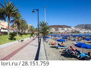 Купить «Пляж Playa del las Vistas с лежаками и зонтами на песке. Пешеходная дорожка. Город Лос Кристианос, остров Тенерифе, Канары, Испания», фото № 28151759, снято 1 января 2016 г. (c) Кекяляйнен Андрей / Фотобанк Лори