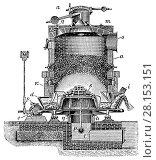 Газогенератор с круглой шахтой и вращающимся колосниковым поддоном с водяным затвором. Стоковая иллюстрация, иллюстратор Макаров Алексей / Фотобанк Лори