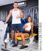 Купить «man and woman fitness coaches in gy», фото № 28153803, снято 16 января 2019 г. (c) Яков Филимонов / Фотобанк Лори