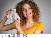 Купить «woman furiously tore the paper», фото № 28154507, снято 29 января 2018 г. (c) Типляшина Евгения / Фотобанк Лори