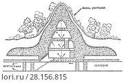 Купить «Тип итальянского бетонного газоубежища с вентиляцией с защитой от 500 килограммовых авиабомб», иллюстрация № 28156815 (c) Макаров Алексей / Фотобанк Лори