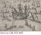 Theodor de Bry - Ladrones Island - Natives attacks an occidental boat. Редакционное фото, фотограф Artepics / age Fotostock / Фотобанк Лори