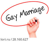 Купить «Man Hand writing Gay Marriage with black marker on visual screen.», фото № 28160627, снято 21 июля 2018 г. (c) easy Fotostock / Фотобанк Лори