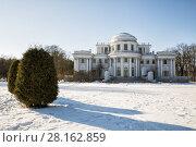 Купить «Elagin Palace on the Elagin Island in winter sunny day, St. Petersburg, Russia», фото № 28162859, снято 4 марта 2018 г. (c) Юлия Бабкина / Фотобанк Лори