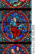 Paris, France. Notre Dame cathedral / Notre-Dame de Paris on Isle de la Cite. Stained glass window - the Tree of Jesse (detail). (2017 год). Редакционное фото, фотограф Phil Robinson / age Fotostock / Фотобанк Лори