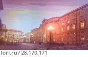 Piazza Carignano at twilight (2017 год). Стоковое фото, фотограф Яков Филимонов / Фотобанк Лори
