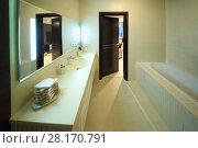 Купить «The interior of a bathroom with a large mirror, sink, bathtub and open door», фото № 28170791, снято 8 мая 2016 г. (c) Losevsky Pavel / Фотобанк Лори