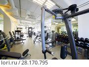 Купить «Modern gym with new shiny fitness equipment, big mirror for sport training», фото № 28170795, снято 29 июня 2016 г. (c) Losevsky Pavel / Фотобанк Лори