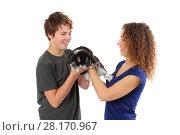 Купить «Happy woman and boy hold funny black rabbit isolated on white», фото № 28170967, снято 20 ноября 2015 г. (c) Losevsky Pavel / Фотобанк Лори