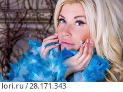 Купить «Blonde woman in blue boa near wall with many branches in studio, close up», фото № 28171343, снято 27 ноября 2015 г. (c) Losevsky Pavel / Фотобанк Лори