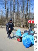 Купить «Man in inflatable fat costume with wheelbarrow collects garbage in area with trees», фото № 28171587, снято 17 апреля 2016 г. (c) Losevsky Pavel / Фотобанк Лори
