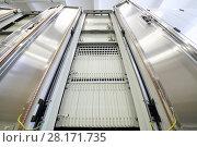 Купить «Communications room with modern equipment for telecommunications», фото № 28171735, снято 25 апреля 2016 г. (c) Losevsky Pavel / Фотобанк Лори