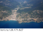 City panorama of Genoa, Italy among mountains at summer day, aerial view (2016 год). Стоковое фото, фотограф Losevsky Pavel / Фотобанк Лори