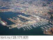 City panorama of sea port of Genoa, Italy at summer day, aerial view (2016 год). Стоковое фото, фотограф Losevsky Pavel / Фотобанк Лори