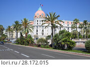 Купить «NICE, FRANCE - JUL 26, 2016: Famous luxury hotel Negresco in neoclassical style on promenade des Anglais», фото № 28172015, снято 26 июля 2016 г. (c) Losevsky Pavel / Фотобанк Лори