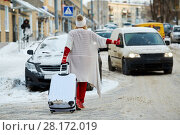 Купить «Young woman with trolley bag tries to catch cat on snow-covered road, rear view», фото № 28172019, снято 15 января 2016 г. (c) Losevsky Pavel / Фотобанк Лори