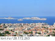 Купить «Townscape and many boats sail near IF island at sunny summer day in Marseille, France», фото № 28172263, снято 31 июля 2016 г. (c) Losevsky Pavel / Фотобанк Лори