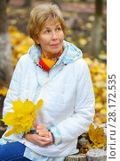 Купить «Elderly happy woman holds yellow maples and looks up in autumn park», фото № 28172535, снято 6 октября 2016 г. (c) Losevsky Pavel / Фотобанк Лори