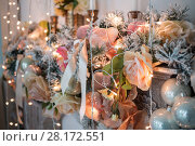 Купить «Close up view of vintage christmas decoration in studio», фото № 28172551, снято 16 января 2015 г. (c) Losevsky Pavel / Фотобанк Лори
