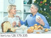 Купить «Mature couple having breakfast at festive Christmas table», фото № 28179335, снято 19 марта 2019 г. (c) Яков Филимонов / Фотобанк Лори