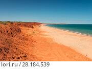Купить «Ochre-coloured earth and sandstone cliffs with white sands beach Dampier Peninsula, Kimberley, Western Australia. July 2016.», фото № 28184539, снято 24 мая 2018 г. (c) Nature Picture Library / Фотобанк Лори