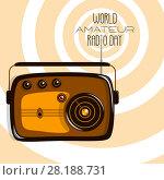 Купить «World Amateur Radio Day. Retro radio», иллюстрация № 28188731 (c) Юлия Фаранчук / Фотобанк Лори