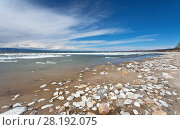 Купить «Lake Baikal on a spring day. Sandy coast of Olkhon Island during the melting of ice», фото № 28192075, снято 22 мая 2011 г. (c) Виктория Катьянова / Фотобанк Лори